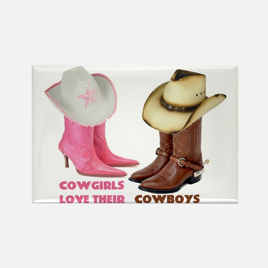 Cowgirls Love Their Cowboys Rectangle Magnet