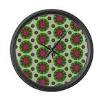 Green Retro Mandala Pattern Large Wall Clock