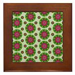 Green Retro Mandala Pattern Framed Tile