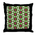 Green Retro Mandala Pattern Throw Pillow