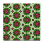 Green Retro Mandala Pattern Tile Coaster