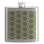 Green Retro Mandala Pattern Flask