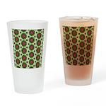 Green Retro Mandala Pattern Drinking Glass