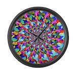 Rainbow Spiral Fractal Art Large Wall Clock