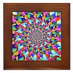 Rainbow Spiral Fractal Art Framed Tile