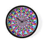 Rainbow Spiral Fractal Art Wall Clock