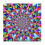 Rainbow Spiral Fractal Art Tile Coaster