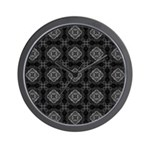 Black and White Retro Fractal Pattern Wall Clock