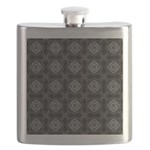 Black and White Retro Fractal Pattern Flask