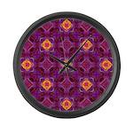 Purple Kaleidoscope Pattern Large Wall Clock