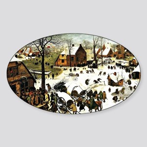 Census at Bethlehem, painting by Pi Sticker (Oval)