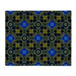 Retro Blue and Yellow Pattern Throw Blanket