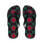 Pink and Green Retro Pattern Flip Flops