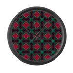 Pink and Green Retro Pattern Large Wall Clock