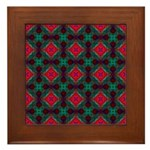 Pink and Green Retro Pattern Framed Tile