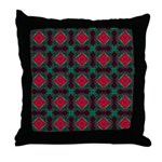 Pink and Green Retro Pattern Throw Pillow