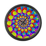 Hippie Art Rainbow Spiral Large Wall Clock