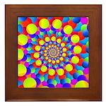 Hippie Art Rainbow Spiral Framed Tile
