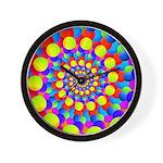Hippie Art Rainbow Spiral Wall Clock