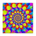 Hippie Art Rainbow Spiral Tile Coaster