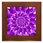 Hippie Purple Spiral Pattern Framed Tile
