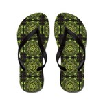 Green Marble Fractal Pattern Flip Flops