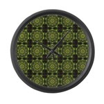 Green Marble Fractal Pattern Large Wall Clock