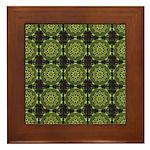 Green Marble Fractal Pattern Framed Tile