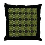 Green Marble Fractal Pattern Throw Pillow