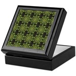 Green Marble Fractal Pattern Keepsake Box