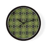Green Marble Fractal Pattern Wall Clock