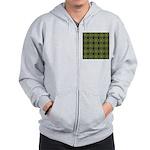Green Marble Fractal Pattern Zip Hoodie