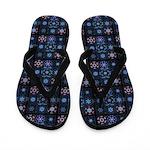 Blue Fractal Collage Flip Flops