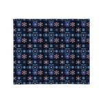 Blue Fractal Collage Throw Blanket
