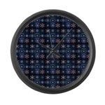 Blue Fractal Collage Large Wall Clock