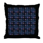 Blue Fractal Collage Throw Pillow