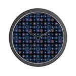 Blue Fractal Collage Wall Clock
