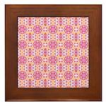 Pink Mandala Pattern Framed Tile