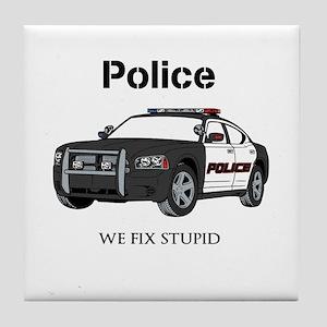 Police We Fix Stupid Tile Coaster