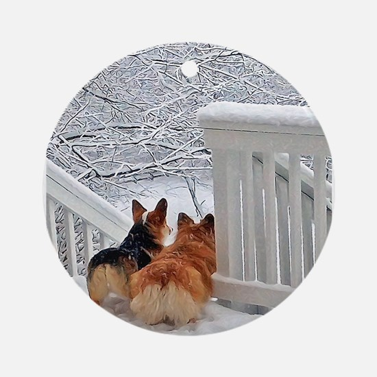 Two Corgis in winter snow Ornament (Round)