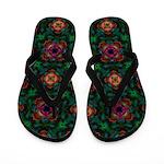 Green Kaleidoscope Hippie Art Pattern Flip Flops