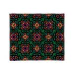 Green Kaleidoscope Hippie Art Throw Blanket