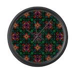 Green Kaleidoscope Hippie Art Large Wall Clock
