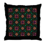 Green Kaleidoscope Hippie Art Throw Pillow