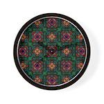 Green Kaleidoscope Hippie Art Wall Clock