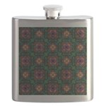 Green Kaleidoscope Hippie Art Flask