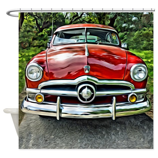 Vintage Red 1950 Ford Coupe Car Shower Curtain by rebeccakorpita