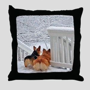 Two Corgis in winter snow Throw Pillow