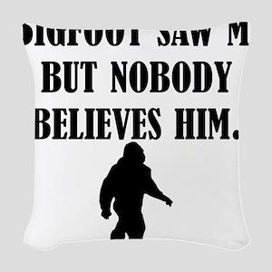 Bigfoot Saw Me Woven Throw Pillow