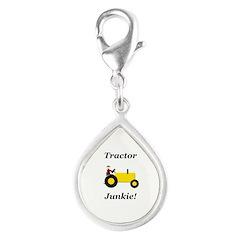 Yellow Tractor Junkie Silver Teardrop Charm